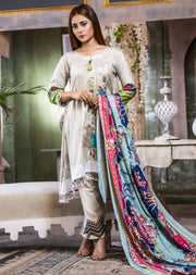 NU606 - Readymade - Grey Dress- Embroidered Linen Wool Shawl Collection 2019 - Memsaab Online
