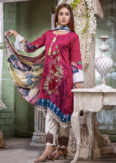 Readymade - H Pink Dress- Embroidered Linen Wool Shawl Collection 2019 - Memsaab Online