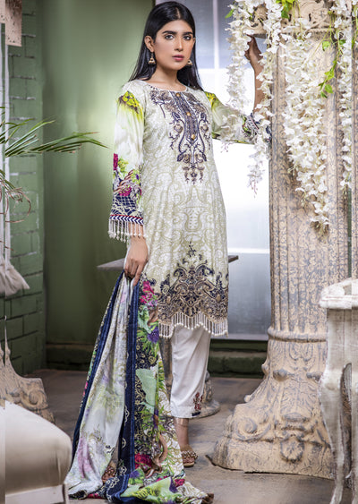 NU607 - Readymade - Off White Kameez- Embroidered Linen Wool Shawl Collection 2019 - Memsaab Online