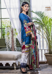 NU608 - Readymade - Blue Dress - Embroidered Linen Wool Shawl Collection 2019 - Memsaab Online