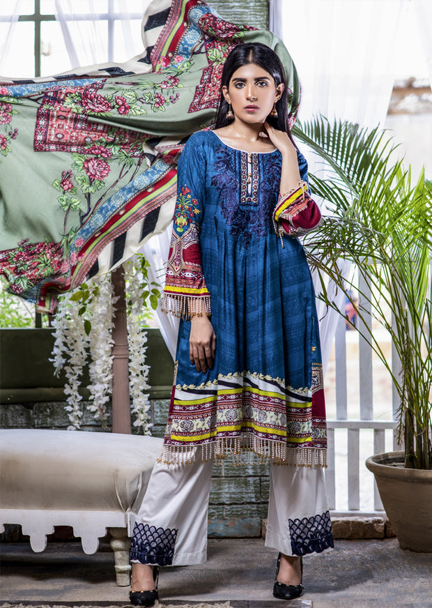 Readymade - Blue Dress - Embroidered Linen Wool Shawl Collection 2019 - Memsaab Online