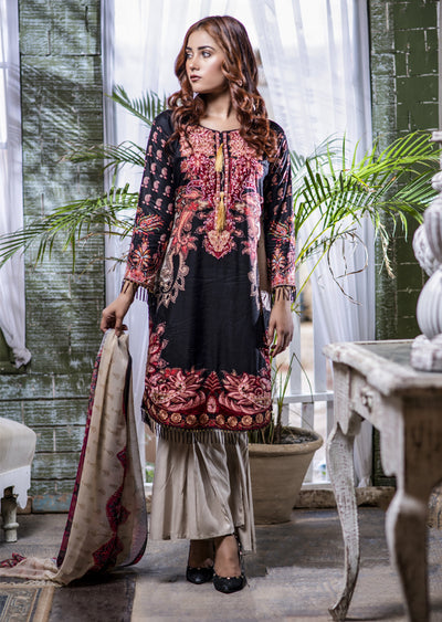 NU609 - Readymade - Black Kameez - Embroidered Linen Collection 2019 - Memsaab Online