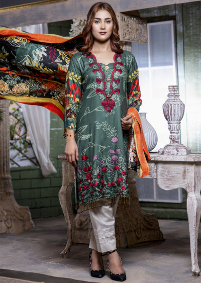 Readymade - Green Kameez - Embroidered Linen Wool Shawl Collection 2019 - Memsaab Online