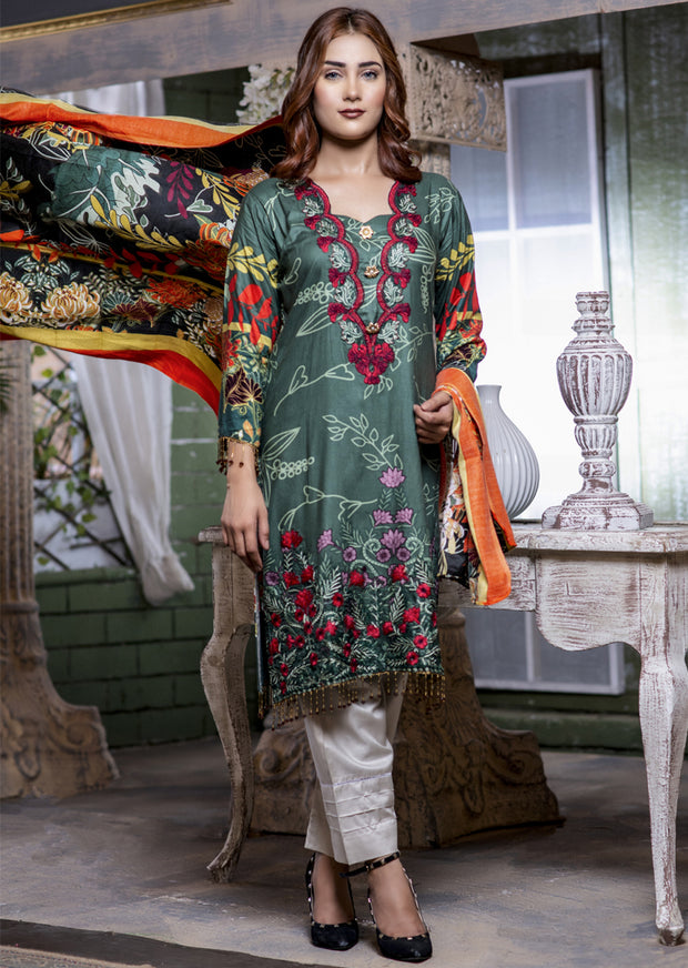 NU610 - Readymade - Green Kameez - Embroidered Linen Wool Shawl Collection 2019 - Memsaab Online