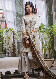 NU611 - Readymade - Grey Kameez - Embroidered Linen Wool Shawl Collection 2019 - Memsaab Online