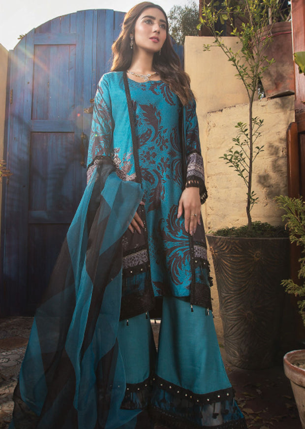 Nifty Turquoise - Ready to Wear Embroidered Linen Suit - Crisanthe by Sofia Khas - Memsaab Online