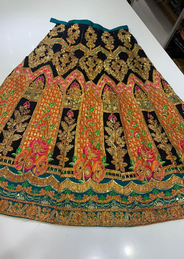 SHB6212- C Orange Embroidered Multicolour Skirt - Memsaab Online