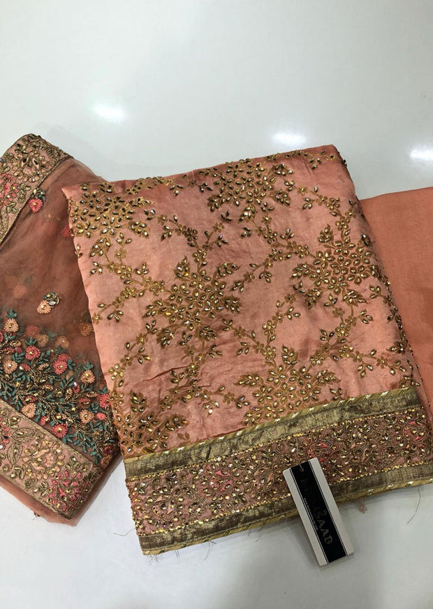Spring Rose Peach Unstitched Fancy Silk Suit - Memsaab Online
