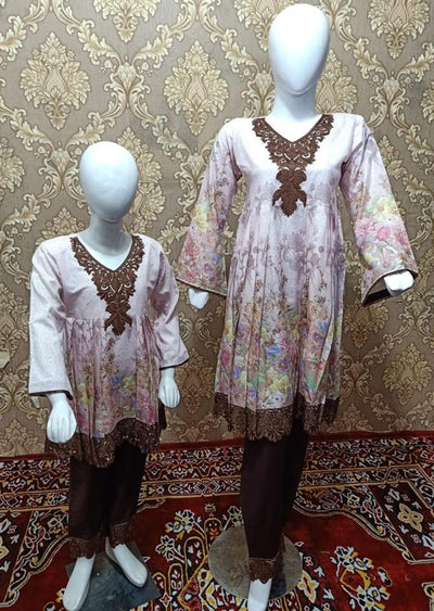BLG5103 Pink Readymade Mother & Daughter Lawn Suit - Memsaab Online
