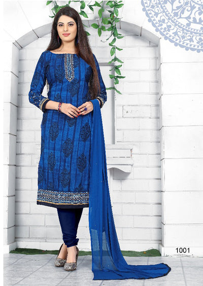 BLUE - Prafful Crepe Unstitched Collection 2019 - Salwar Kameez Suits - Memsaab Online