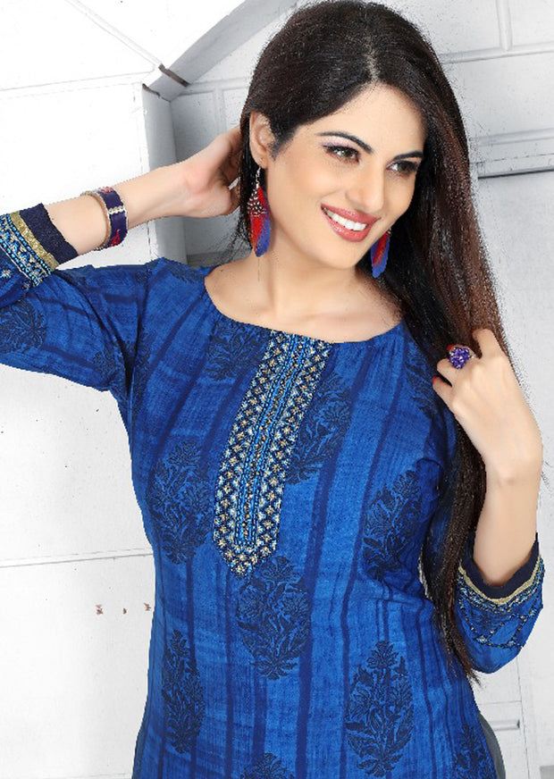 PR1001 - BLUE - Prafful Crepe Unstitched Collection 2019 - Salwar Kameez Suits - Memsaab Online