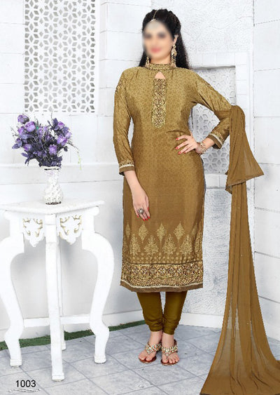 MUSTARD - Prafful Crepe Unstitched Collection 2019 - Salwar Kameez Suits - Memsaab Online