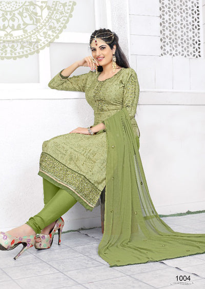 GREEN - Prafful Crepe Unstitched Collection 2019 - Salwar Kameez Suits - Memsaab Online