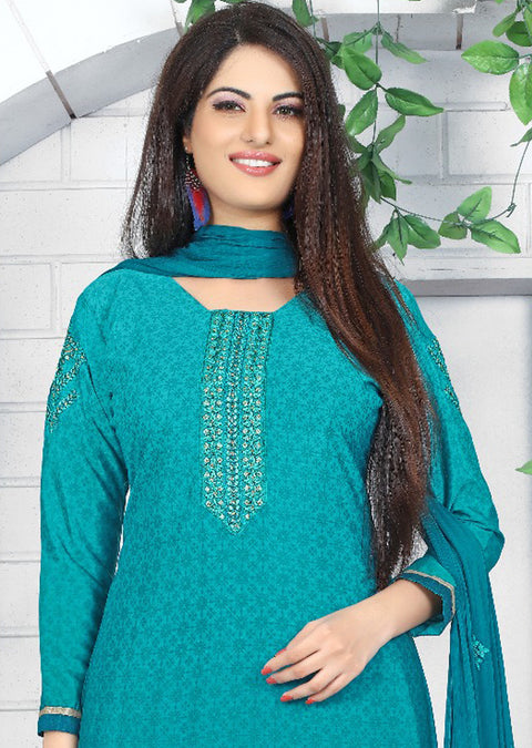 PR1005 - TEAL - Prafful Crepe Unstitched Collection 2019 - Salwar Kameez Suits - Memsaab Online