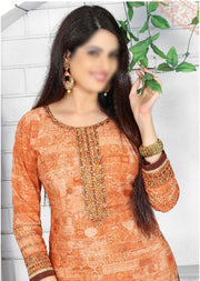 ORANGE - Prafful Crepe Unstitched Collection 2019 - Salwar Kameez Suits - Memsaab Online