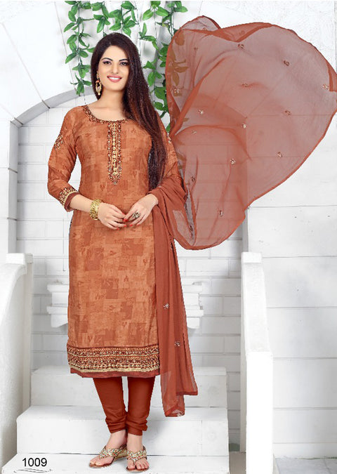 PR1009 - BROWN - Prafful Crepe Unstitched Collection 2019 - Salwar Kameez Suits - Memsaab Online