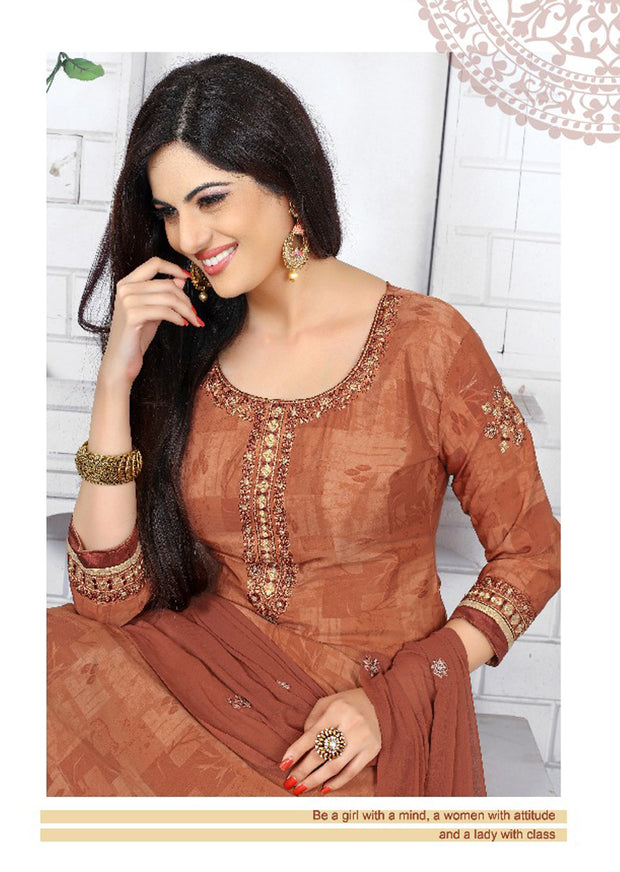 BROWN - Prafful Crepe Unstitched Collection 2019 - Salwar Kameez Suits - Memsaab Online