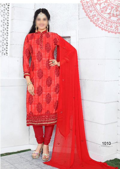 RED - Prafful Crepe Unstitched Collection 2019 - Salwar Kameez Suits - Memsaab Online