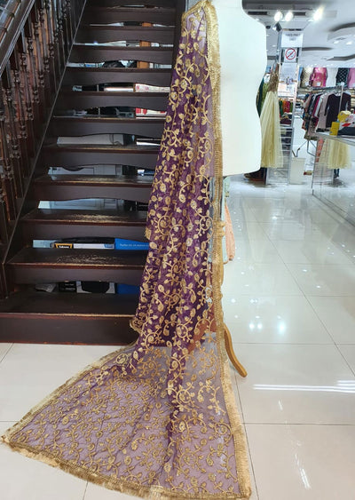 DXP01 Purple Embroidered Net Duppatta - Memsaab Online