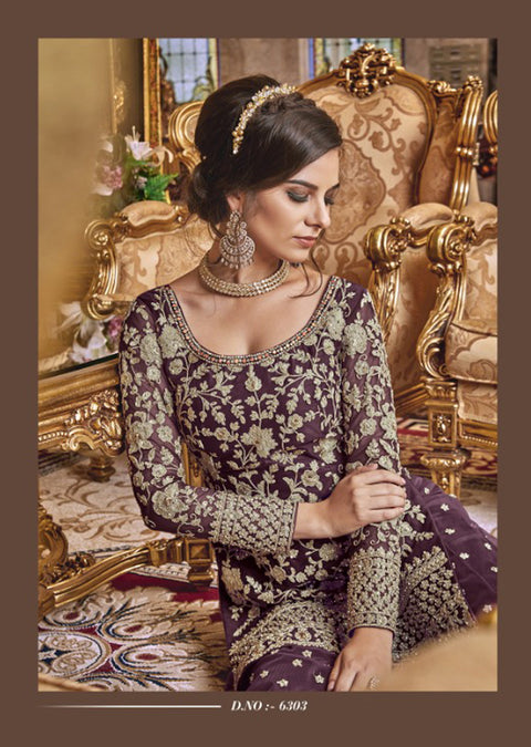 Unstitched - Purple Violet Inspired Fancy Partywear Suit - Memsaab Online