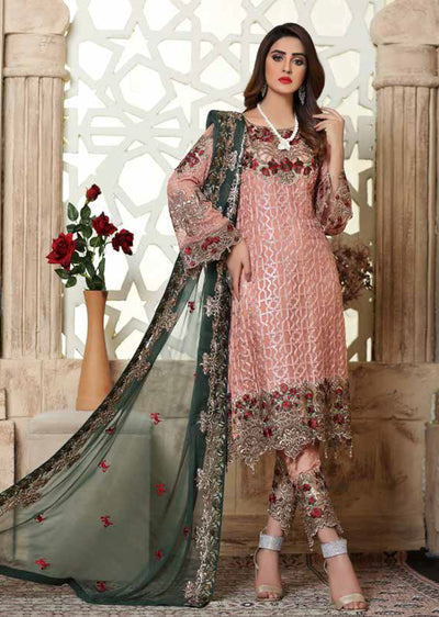 Peach Unstitched Ramsha Rangoon - Memsaab Online