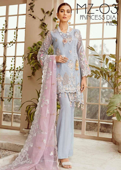 PRINCESS DIARIES - Unstitched MASHQ Luxury Chiffon Suit 2020 - Memsaab Online