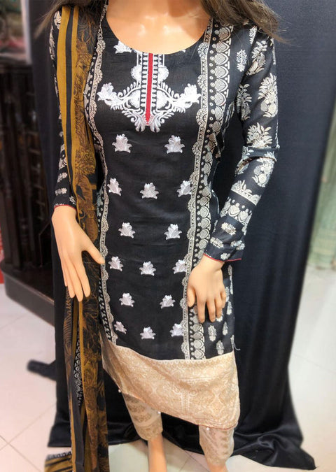 Pristine Black with Maroon Ready to Wear Embroidered Lawn Suit - Memsaab Online