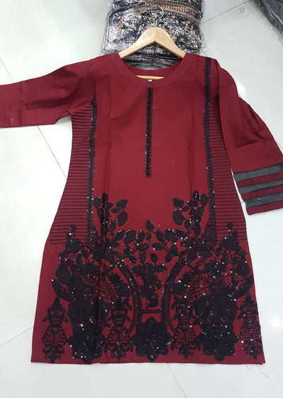 ZA527 RED Readymade Linen Embroidered Kurti - Memsaab Online