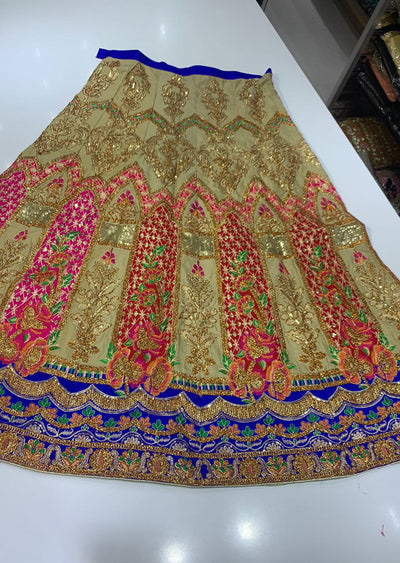 SHB6212- B Red Embroidered Multicolour Skirt - Memsaab Online