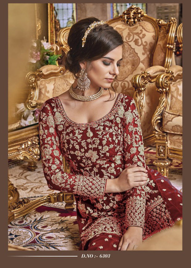 Unstitched - Red Violet Inspired Fancy Partywear Suit - Memsaab Online