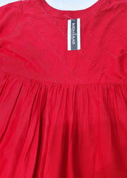 MR911 Readymade Royal Red Maryams Lawn Peplum - Memsaab Online