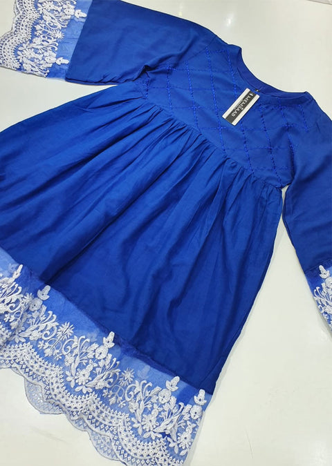 MR911 Readymade Royal Blue Maryams Lawn Peplum - Memsaab Online
