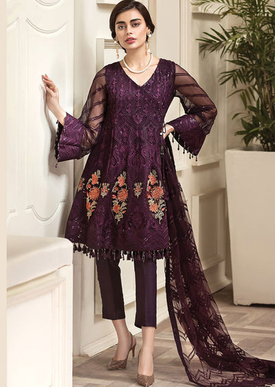 Sahansah - JAZMÍN Unstitched Amerrati Embroidered Chiffon Collection 2020 - Memsaab Online