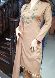 SD01 Light Brown Readymade Lawn Suit with Handwork - Memsaab Online