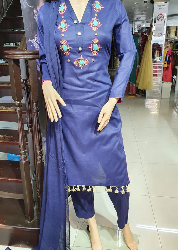 SD01 Blue Readymade Lawn Suit with Handwork - Memsaab Online