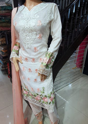SDQ01 Readymade Tissue Organza Embroidered Suit - Memsaab Online