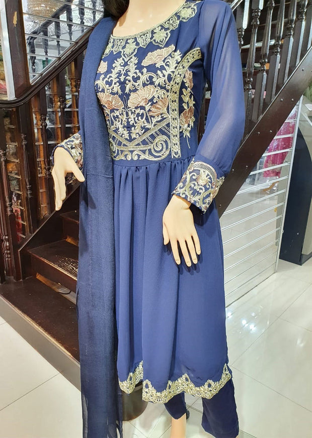 SDQ04 Readymade Georgette Embroidered Dress - Memsaab Online