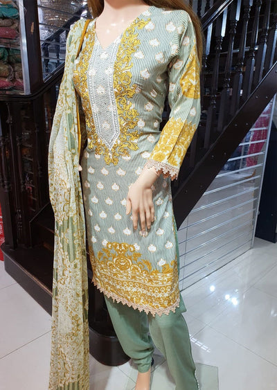 SDQ05 Readymade Linen Embroidered Suit - Memsaab Online