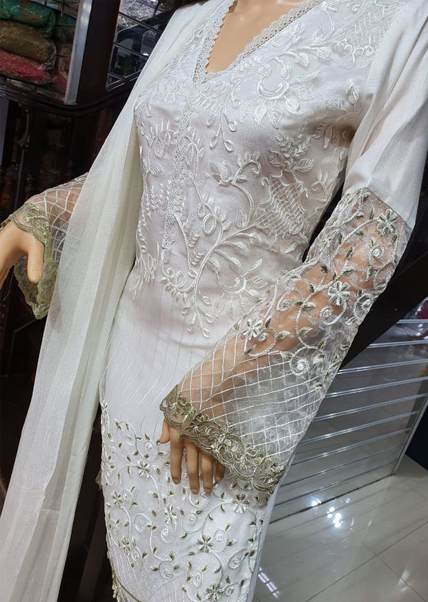 SDQ07 Readymade White Tissue Organza Embroidered Suit - Memsaab Online