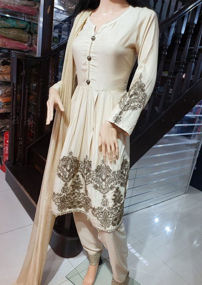 SDQ09 Readymade Gold Embroidered Linen Frock Suit - Memsaab Online