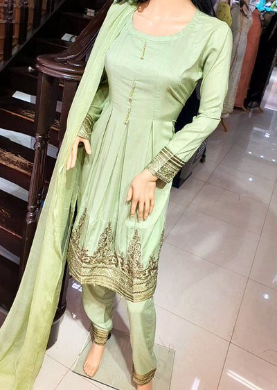 SDQ09 Readymade Greem Embroidered Linen Frock Suit - Memsaab Online