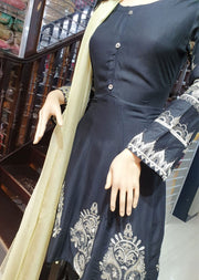 SDQ10 Readymade Black Embroidered Linen Frock Suit - Memsaab Online