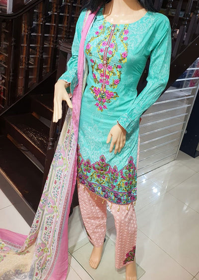 SDQ18 Readymade Aqua Lawn Embroidered Suit - Memsaab Online