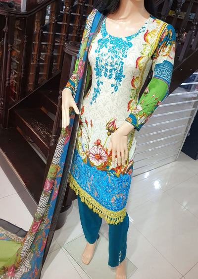 SDQ19 Readymade Cream Linen Embroidered Suit - Memsaab Online