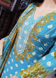 SDQ23 Readymade Turquoise Linen Suit - Memsaab Online