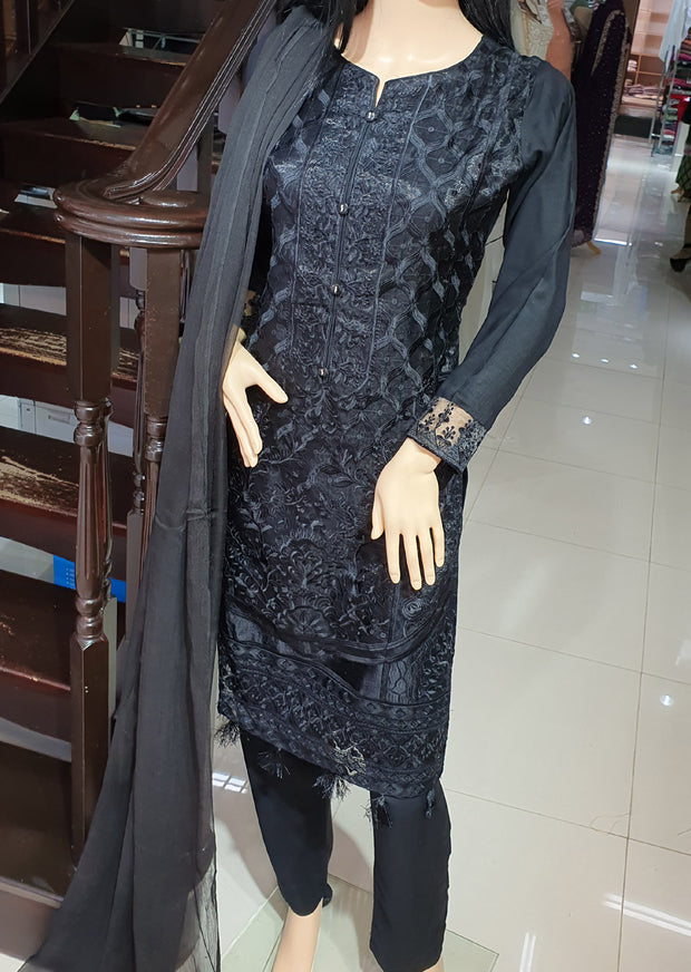 SDQ30 Readymade Black Tissue Organza Embroidered Suit - Memsaab Online