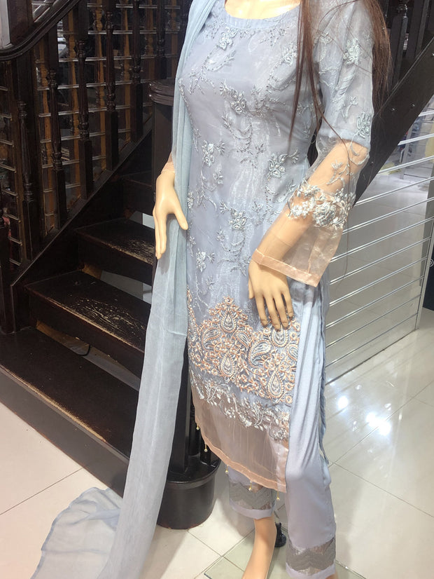 SDQ36 Readymade Grey Tissue Organza Embroidered Suit - Memsaab Online