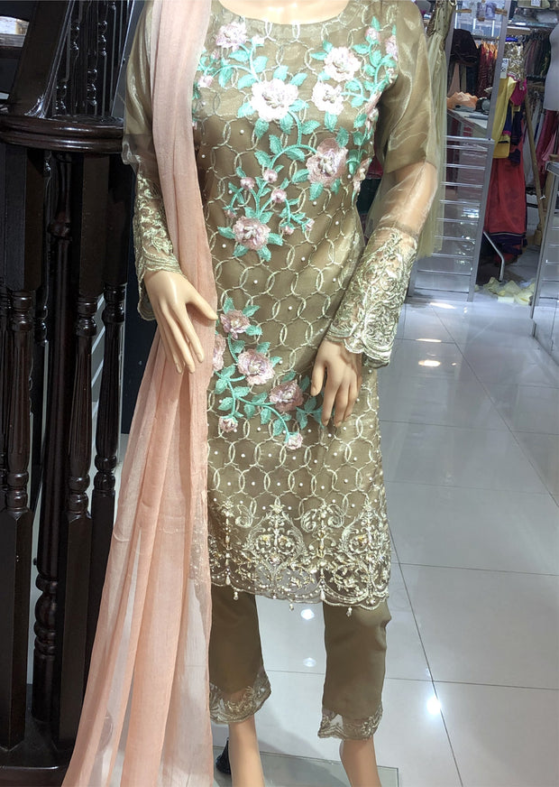 SDQ37 Readymade Gold Tissue Organza Embroidered Suit - Memsaab Online