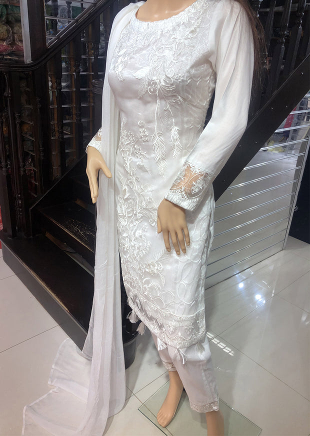 SDQ38 Readymade White Tissue Embroidered Suit - Memsaab Online