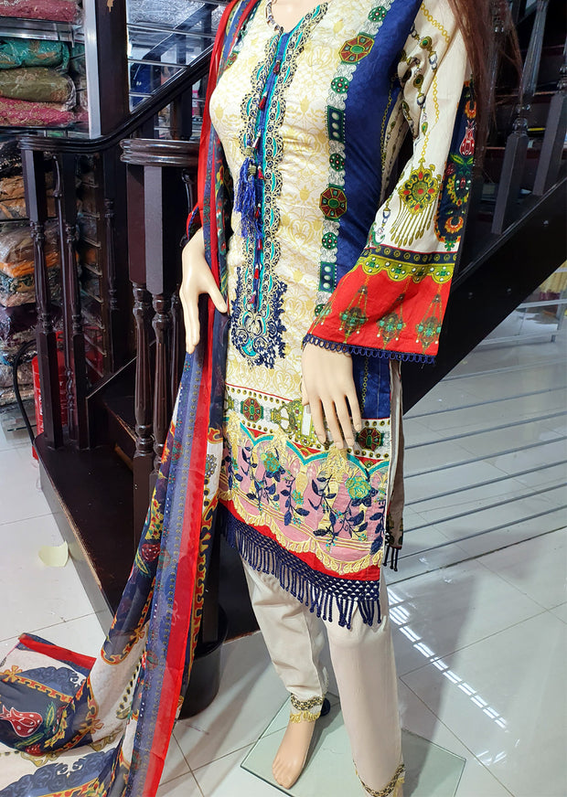 SDQ45 Readymade Embroidered Lawn Suit - Memsaab Online